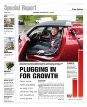 """Eric Johnson, Page design: """"Plugged in for Growth"""""""
