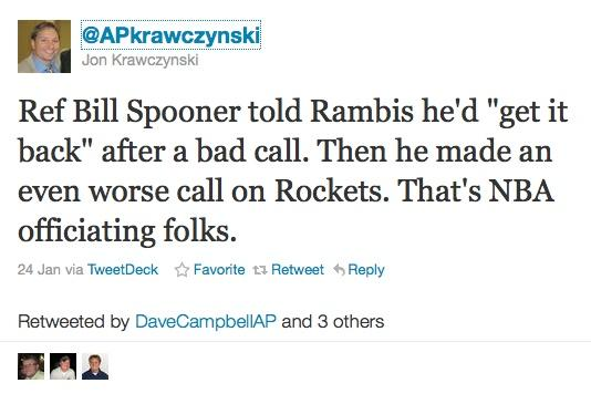 NBA referee Bill Spooner sued over this Twitter post by an Associated Press reporter.