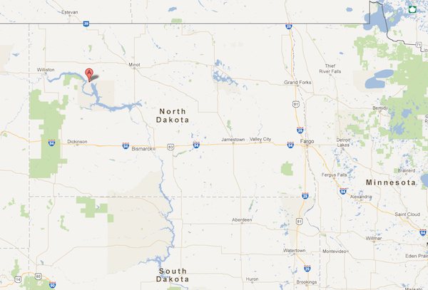 The red mark shows where New Town, N.D., is located, where an Indian tribe plans to build a$400million oil refinery.