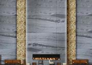 A rendering of what the lobby will look like, with fireplace.