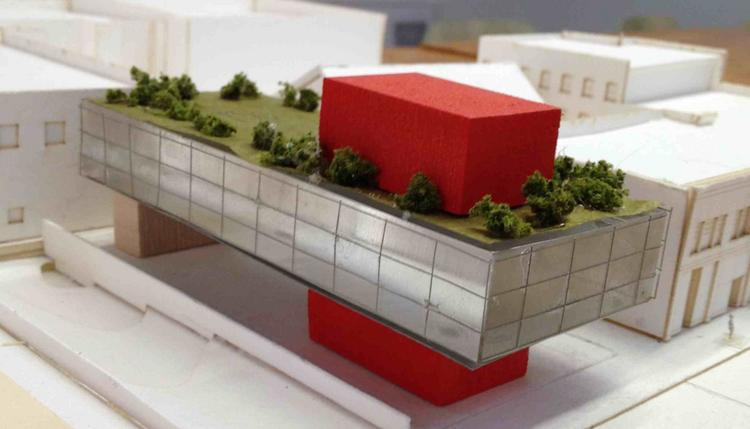 A model of a proposed office building at 1016 Marquette that was designed for Real Estate Recycling by James Dayton Design.