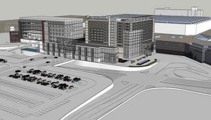 Conceptual rendering of Mall of America's medical office tower (left) and luxury hotel (right) that Ryan Cos. US Inc. will help develop and build.