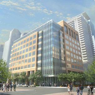 A rendering of the proposed office building that Opus announced it is developing for Xcel Energy on Nicollet Mall.