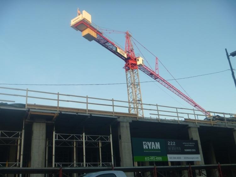 A tower crane at 222 Hennepin Ave. inMinneapolis. It is being used at an apartment and retail complex that is under construction.