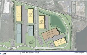 A potential layout for the Valley Park Business Center in Shakopee where Emerson Process Management is proposing to open a new 500-employee factory on about 47 acres.