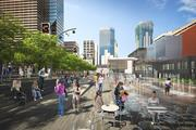 Summer stairs and fountains as envisioned for a renovated Peavy Plaza in downtown Minneapolis