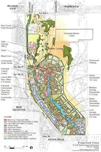 """Many conceptual redevelopment plans have been floated over the years for the TCAAP property in Arden Hills, including this old """"Framework Vision"""" from 2005."""