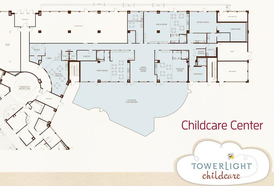 A rendering of the childcare addition, shaded in blue.