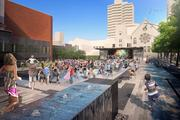 """Water wall"" and concert depicted at Peavy Plaza"
