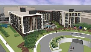 Rendering of proposed apartment building that Trammell Crow Co. plans to build next to the Colonnade office tower in Golden Valley.