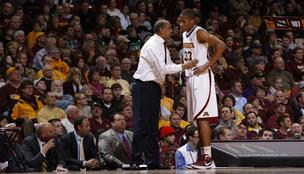 University of Minnesota Men's Basketball Coach Tubby Smith (pictured here with player Rodney Williams) has agreed to a contract extention through 2017.