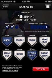 """The """"At the Plate"""" mobile app allows fans to predict which events will happen when the Twins are batting. For example, will a Twins player hit a home run? Will someone steal a base?"""
