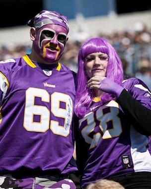 Vikings fans at the team's game against Carolina in Charlotte, N.C., earlier this season.
