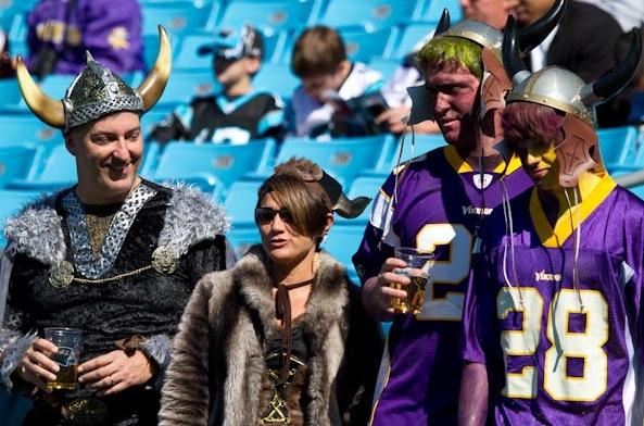 These fans cheered for the Vikings in Charlotte, N.C., last season. Will they make the trip to London next year?