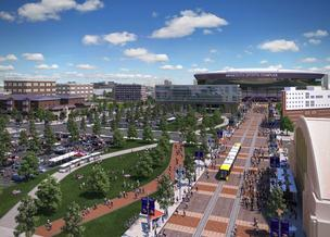 Looking from the downtown core toward the stadium, along with the proposed light rail station.