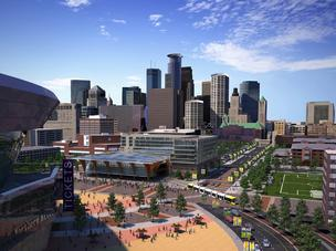Football fans could gather along the light-rail line outside the  planned Vikings stadium in Minneapolis.