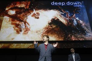 Yoshinori Ono, a video game producer at Capcom Co., introduces the new game Deep Down at the unveiling of the Sony Corp. PlayStation 4 in New York on Wednesday. Sony Corp. unveiled the PlayStation 4, its first video-game console in seven years, introducing new cloud and social-media features as Chief Executive Officer Kazuo Hirai seeks to reignite sales.