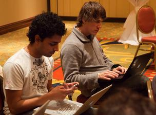 Dennis Crowley, right, and Naveen Selvadurai of Foursquare.