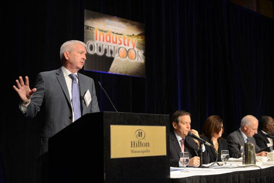 Ben Fowkes, CEO of Xcel Energy Inc., speaking at the Business Journal's 2013 Industry Outlook event