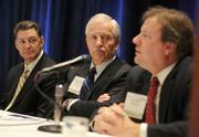 From left to right: Jeff Eaton, president of Cushman & Wakefield | Northmarq; Jeffrey Hamiel, executive director of the Metropolitan Airports Commission, and Jim Kolar, managing partner of PwC Minneapolis.