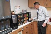 A coffee bar keeps workers caffeinated.