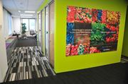 The office is splashed with vivid colors, patterns, and Accenture branding.