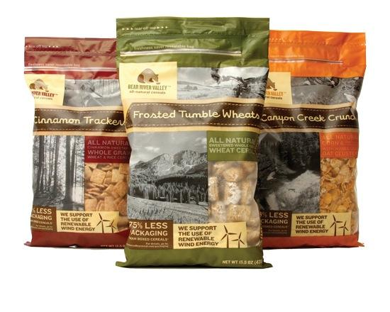"""Ideas that Kick designed the packaging for Bear River Valley, a new line from Malt-O-Meal. the bags depict nature scenes.   """"We've got mountain bikers, kayaks and mountain valleys,"""" Kemp said. """"It's all about the Rocky Mountains. We're resonating with an active lifestyle.""""  The brand is available at Byerlys, Lunds and Kowalski's Markets."""