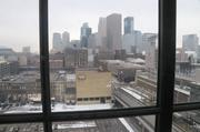 View of the Minneapolis skyline from a conference room.