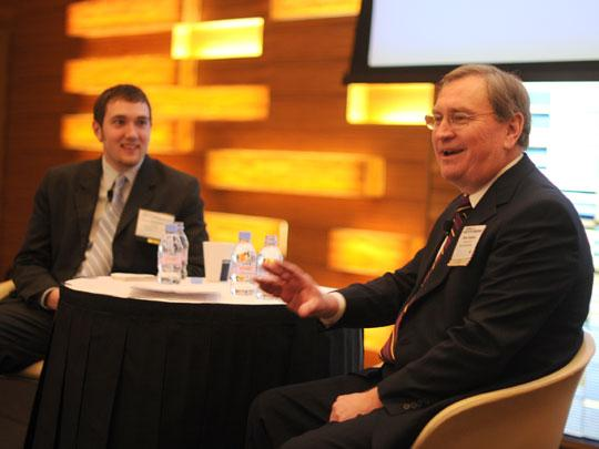 Sun Country CEO Stan Gadek, right, with Business Journal reporter and moderator John Vomhof Jr.