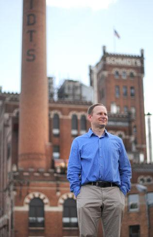 Chad Blihovde of Java Properties is marketingrestaurant and office space in the former Schmidt Brewery complex.