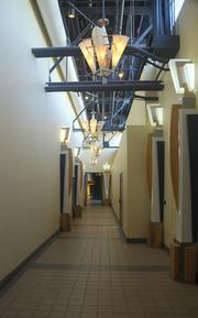A hallway in the building.