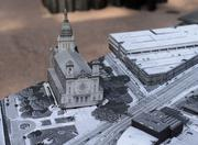 """A model of """"Plan-It Hennepin,"""" which is a year-long initiative to re-imagine Hennepin Avenue as a revitalized cultural corridor from theMinneapolis Sculpture Garden to theMississippi River. In this photo, the Basilica of Saint Mary is on the left."""