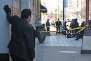 The building was cordoned off and locked down for more than an hour.