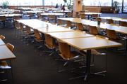 Aveda's cafeteria is about 4,000 square feet and can seat about 150.