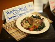 Each dish of the day is put on display near the entrance of the cafeteria.