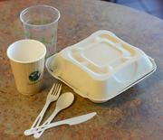 All plastic cutlery and take-out containers are biodegradable.