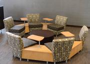 The renovation included new furniture with bar seats, booths, and regular- and high-top tables.