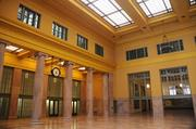 The inside front portion of the Union Depot, restored to its original colors.