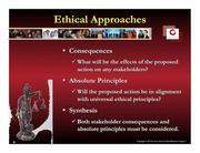 """James said people fall into two camps when deciding on ethical issues. One group focuses on the consequences of an action and try to find a solution that benefits the most people while causing the least harm. The other group picks the action that aligns with ethical principles they hold strongly. James said the solution is """"synthesis."""""""