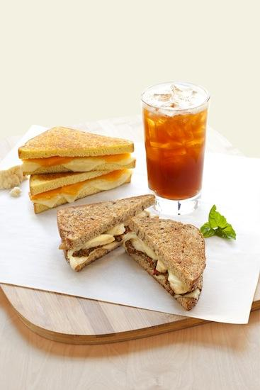 "Caribou Coffee started offering ""Grown-up Grilled Cheese"" lunch sandwiches on Monday."