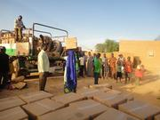 Feed My Starving ChildrenMannaPack Rice and MannaPack Potato-W food formulas being distributed in Niger through Convoy of Hope in September 2012.