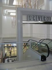 The metal strip on the floor marks where the front of the former Bloomingdale's store was. As part of the renovation, the mall created a new courtyard area in front of Forever 21's basement entrance.