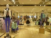 Women's clothing displays just inside the basement entrance. The new store is more than five times larger than Forever 21's previous mall location.