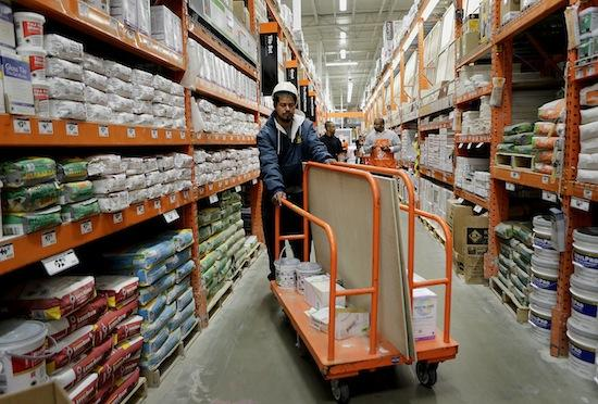 Home Depot saw a big jump in first quarter profit as the housing market continued to improve.