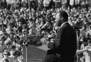 Dr. Martin Luther King Jr. speaking against the war in Vietnam at the St. Paul Campus of the University of Minnesota. April 1967. (Courtesy Minnesota Historical Society)