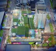 A rendering from above the proposed Minnesota Live project at Block E.