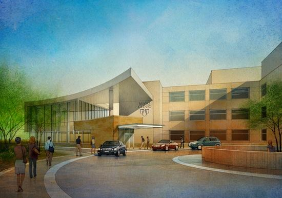 Rendering of the Mayo Clinic's new proton beam cancer therapy facility in Arizona.