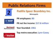 Three major clients: BASF, Rockwell Automation, Imation