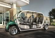 This is a 6-seat model of GEM electric vehicle, made by Polaris. The 2013 model has improved steering, braking and suspension.