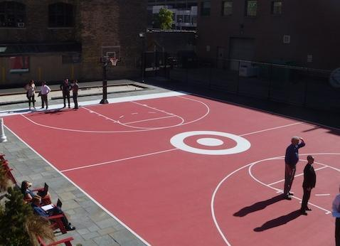 Target Plaza Commons at 1101 Nicollet Mall has an outdoor basketball court.
